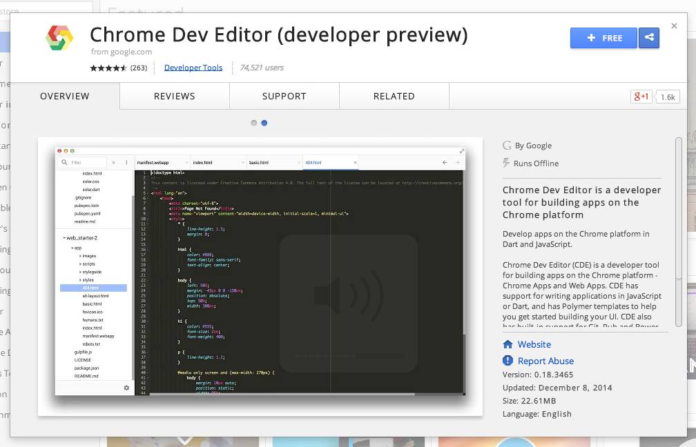 Chrome-dev-editor-chrome-webstore