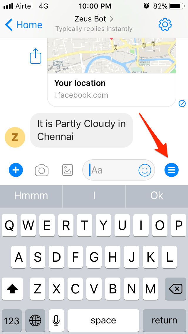 Create a persistent menu for Facebook messenger bot