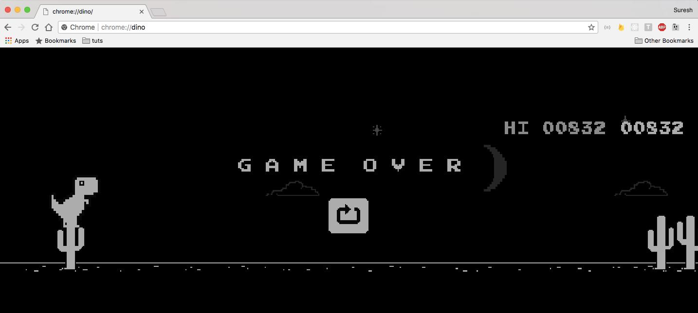 google chrome T-Rex dinosaur game